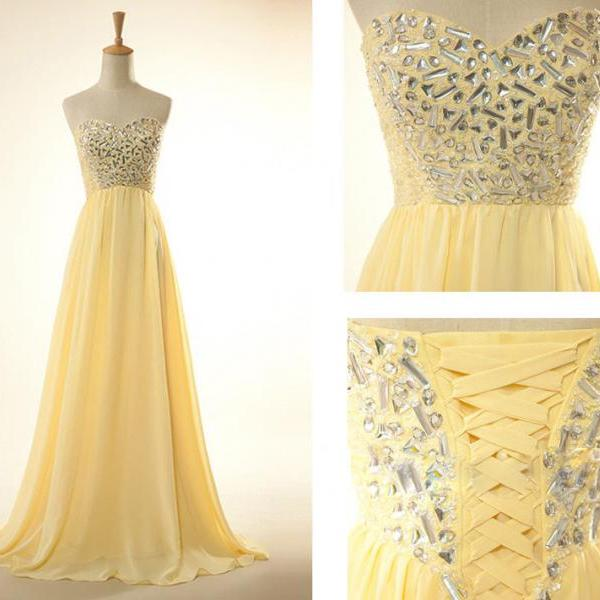 Elegant Yellow Formal Dresses Sweetheart Long Chiffon Evening Prom Gowns With Beaded Bodice