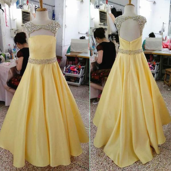 Stunning Formal Dresses Long Yellow Satin Beaded Evening Prom Gowns With Beaded Waistline Belt