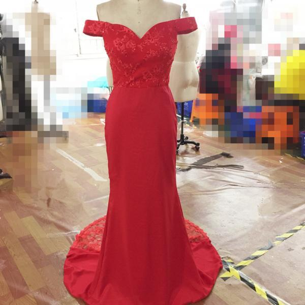 Sexy Red Evening Dresses With Off The Shoulder Long Elegant Backless Mermaid Prom Dresses Formal Gowns
