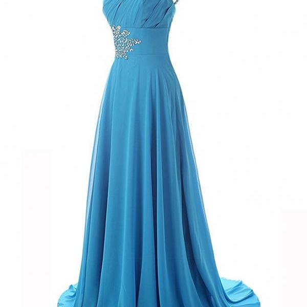 2017 Chiffon Sky Blue Evening Dresses One Shoulder Prom Party Dress Robe De Soiree Formal Gowns