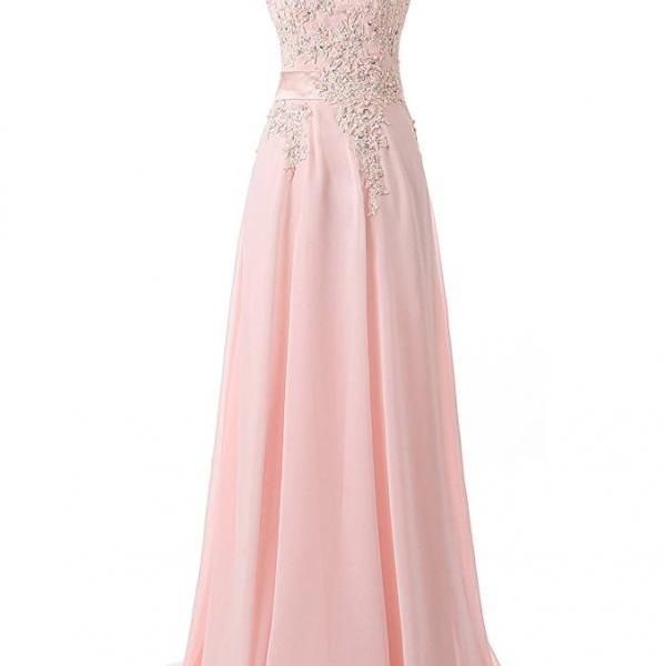 Long Pink Bridesmaid Dress,Floor Length Pink Bridesmaid Dresses,Elegant Long Cheap Beaded Prom Dresses Party Evening Gown