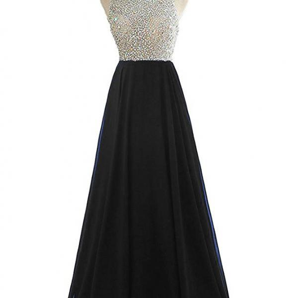 Beaded Embellished Crew Neck Halter Floor Length Chiffon A-Line Formal Dress Featuring Open Back, Prom Dress, Bridesmaid Dress
