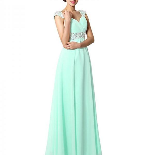 Marvelous Long Mint Green Chiffon Prom Dresses Featuring Cap Sleeve -- Sexy Beading Formal Dress, Party Dresses