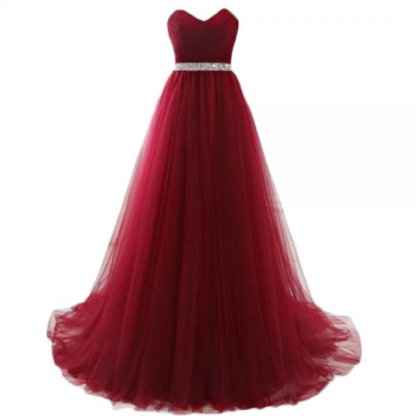 Stunning Long Burgundy Tulle Prom Dresses Featuring V Neck -- Sexy Beaded Formal Dress, Party Dresses