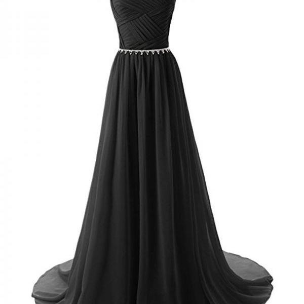 Ruched Sweetheart Floor Length A-Line Formal Dress Featuring Beaded Belt, Lace-Up Back and Sweep Train, Prom Dress, Bridesmaid Dress