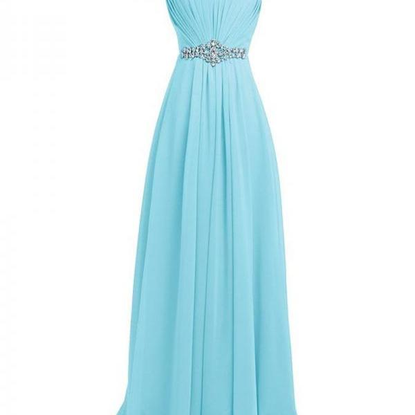 Light Blue Rhinestone Bridesmaid Dress,Floor Length Chiffon Strapless Bridesmaid Dresses,Elegant Long Cheap Beaded Prom Dresses Party Evening Gown