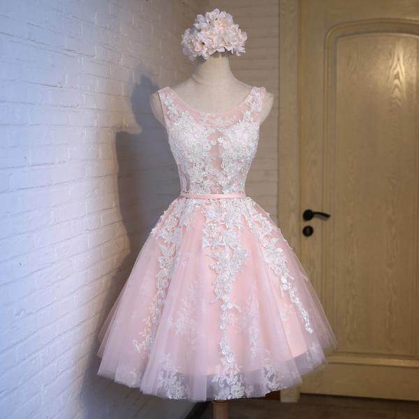 Pink Lace Short Prom Dresses, Tulle Graduation Dress,Short Prom Dresses,Short Dress,2017 Prom Dresses,Vintage Prom Dresses, Party Dresses, Homecoming Dresses