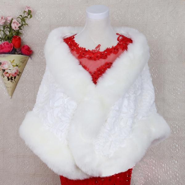 Luxury White Women's Scarf Poncho With Faux Fur Collar