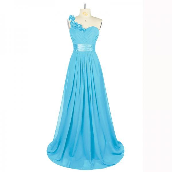 Light Blue Long Chiffon Floral One Shoulder Formal Party Dress ,Long Elegant Prom Dresses