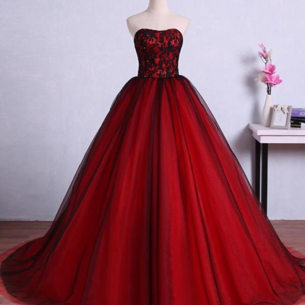 Charming Red Ball Gown Prom Dresses Tulle Sweetheart Evening Gowns With Lace Bodice
