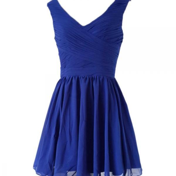 2018 Sexy Short Royal Blue Chiffon Prom Dress , Graduation Dresses 2018,Party Dresses,Short Homecoming Dresses, Short Prom Dress 2018