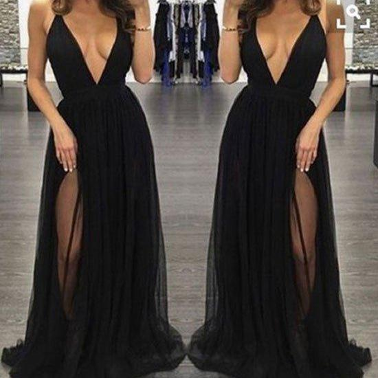 sexy black a-line side split long evening dress with deep v neck