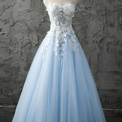 2018 light blue a line tulle evening dress with lace applique