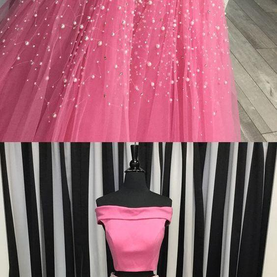 Marvelous Pink Two Piece Prom Dresses Featuring Boat Neck And Tulle Skirt