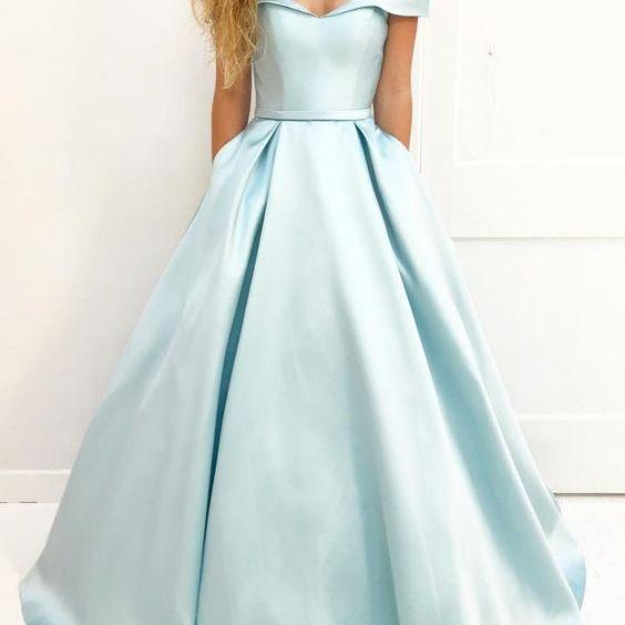 Prom Dresses,formal red carpet dresses,Light Blue Prom Dresses, Long Prom Dresses,Long Elegant Prom Dress,Satin Prom Dresses,2018 Prom Dresses,Prom Dresses