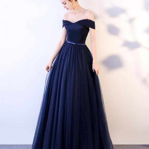 Navy Blue Long Prom Dresses,Off The Shoulder Prom Gowns,Dark Blue Evening Dresses, A-Line Evening Gowns, Cocktail Dresses Custom