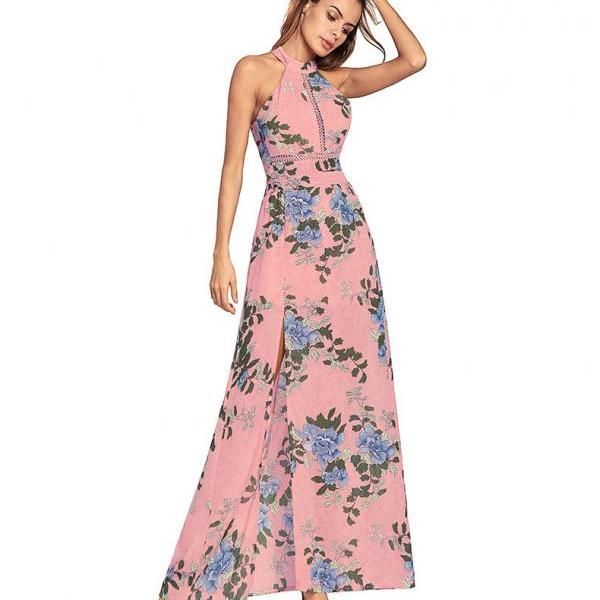 Sexy Long Chiffon Backless Pink Boho Printed Floral Dresses With Side Split