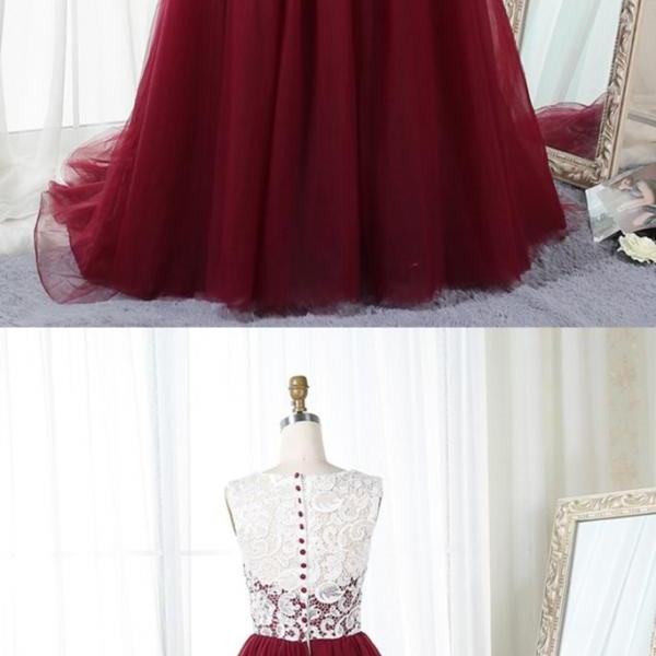 New Fashion Burgundy Sheer Neck Tulle Prom Dress,Dark Red Evening Dress