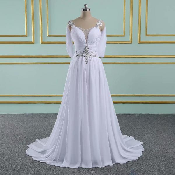 2019 Elegant Wedding Dresses V Neck Chiffon Bridal Dress Sexy White Ivory Wedding Gowns