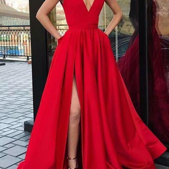Sexy Red Formal Dresses Featuring Satin Bodice With Deep V Neckline -- Long Elegant Prom Dresses With Side Split, Sexy Evening Gowns