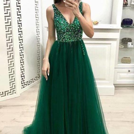 Long Dark Green Tulle Formal Dresses Featuring Rhinestone Beaded Bodice With Deep V Neckline -- Long Elegant Prom Dresses, Sexy Evening Gowns