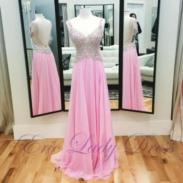 Long Pink V Neck Evening Dresses Beaded Chiffon Backless Prom Dresses 2016 Real Photo Homecoming Cocktail Graduation Party Dresses Robe De Soiree Formal Gowns