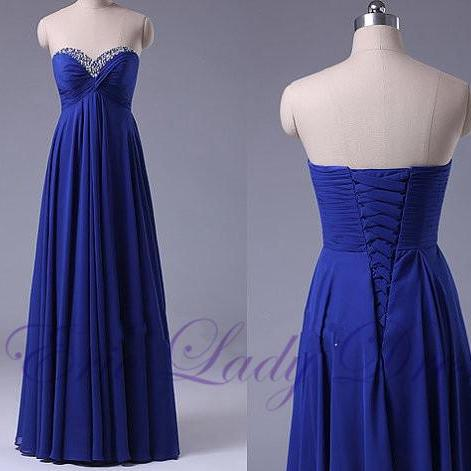 Beaded Embellished Blue Chiffon Ruched Sweetheart Floor Length A-Line Prom Dress, Evening Dress