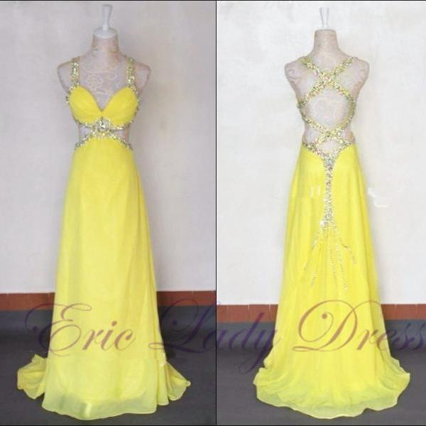 Sexy Yellow V Neck Evening Dresses Beaded Chiffon Long Elegant Prom Dresses 2016 Real Photo Women Party Dresses Formal Gowns