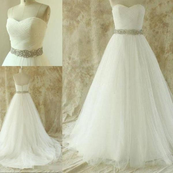 Strapless Sweetheart Ruched Beaded Tulle Wedding Dress
