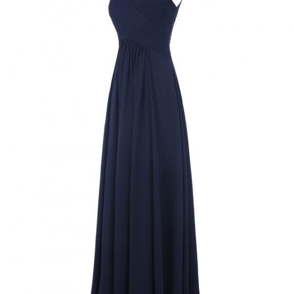 Evening Dress,Long Elegant Evening Dress,Navy Blue Evening Dresses,Chiffon Evening Dresses,Blue Prom Dresses, Formal Evening Gowns, Party Dress