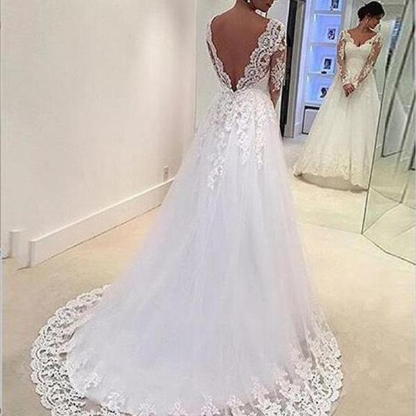 2016 Wedding Dresses,Long Sleeve Wedding Dresses, Luxury Wedding Dresses,Vintage Wedding Dresses,Wedding Gowns,Bridal Gowns,Backless Wedding Dress