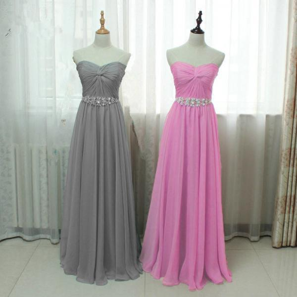 2016 New Arrival Strapless Sweetheart Prom Dresses Sexy Chiffon Pink Grey Evening Dresses Elegant Prom Gowns Party Dress