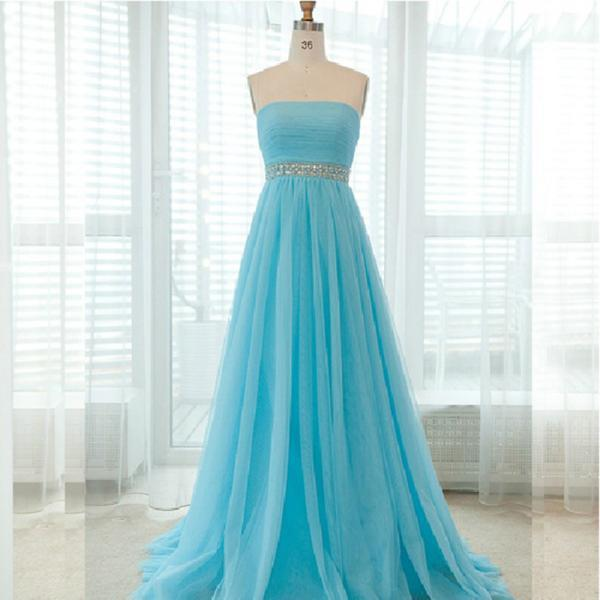 2016 Light Blue Prom Dresses Sexy Strapless Evening Dresses Elegant Prom Gowns Party Dress
