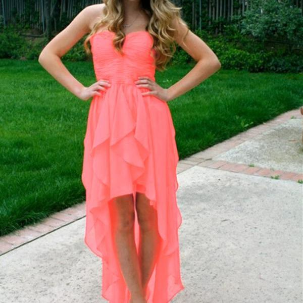 Prom Dress,Chiffon Prom Dress,High Low Prom dresses,Coral Prom Dresses,Custom Made Prom Dress, Vintage Prom Dress, Long Prom Dresses,2016 Prom Dresses