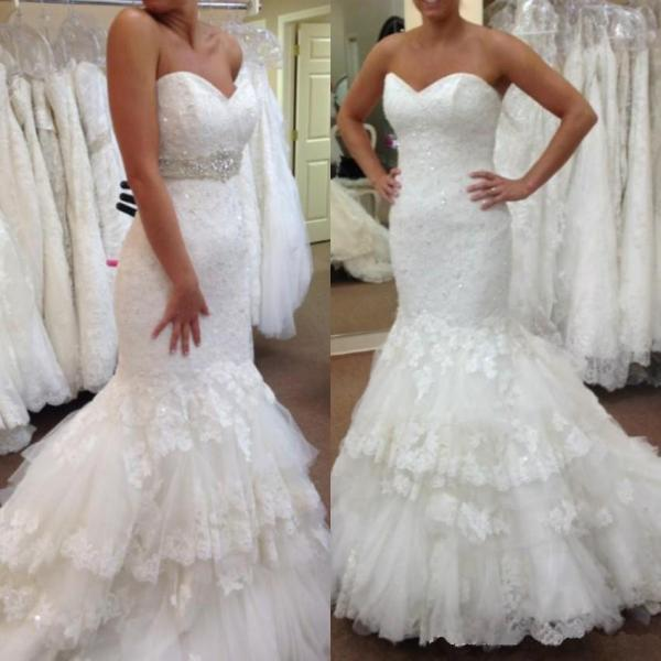 Plus Size Wedding Dresses,Tiered Skirt Wedding Dresses,2016 Wedding Dresses,Mermaid Wedding Dresses,Real Photo Wedding Dresses,Chapel Train Wedding Dresses,Bridal Gown