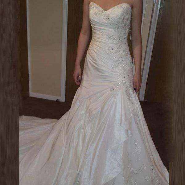 Taffeta Wedding Dresses,Luxury Crytal Wedding Dresses,2016 Wedding Dresses,Mermaid Wedding Dresses,Real Photo Wedding Dresses,Chapel Train Wedding Dresses,Bridal Gown