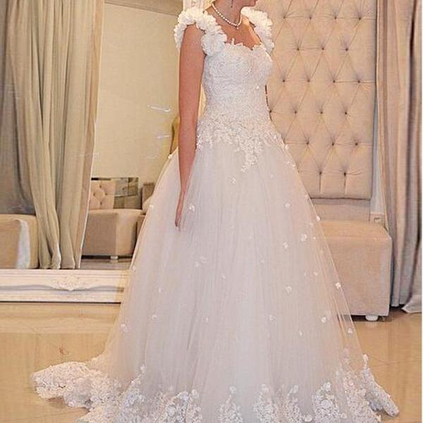 Floral Wedding Dresses,Tulle Wedding Dresses,2016 Wedding Dresses,Chapel Train Wedding Dresses,Real Photo Wedding Dresses,White Wedding Dresses,Bridal Gown