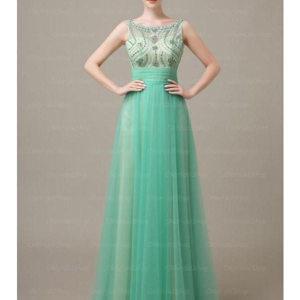 Elegant Long Green Backless Prom Dresses, Long Prom Gowns, Bridesmaid Dresses, Wedding Party Dresses