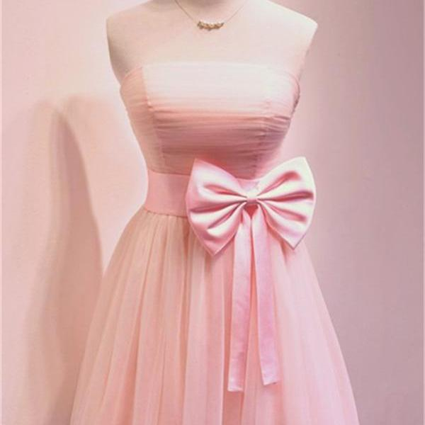 Pink Chiffon Strapless Straight Across Short Homecoming Dress Featuring Bow Accent Belt, Formal Dress