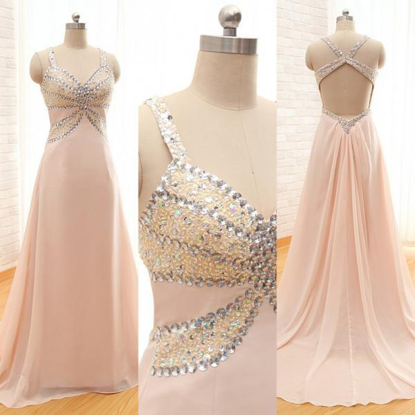 97ae55f40a ... Sexy Pink Chiffon Backless Formal Dresses Featuring Rhinestone Beaded  Bodice -- Long Elegant Prom Dress