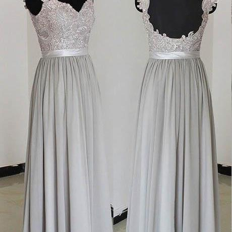 Hot Selling A Line Silver Evening Dresses With Open Back Lace V Neck Long Elegant Prom Dress Robe De Soiree Formal Gowns