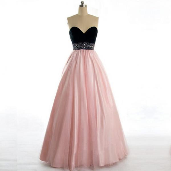 Pink Floor-length Strapless Sweetheart Prom Gown with Jewel-embellished Waistband