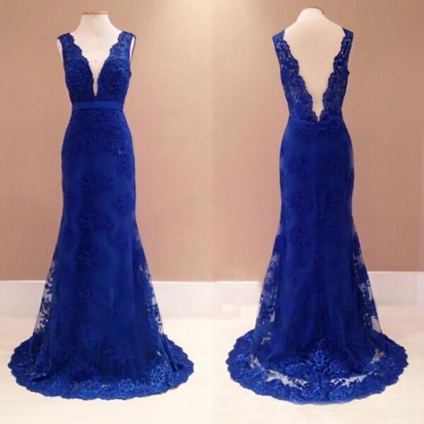 Royal Blue Plunging V Sleeveless Lace Appliqués Mermaid Long Prom Dress, Evening Dress Featuring Low V Back