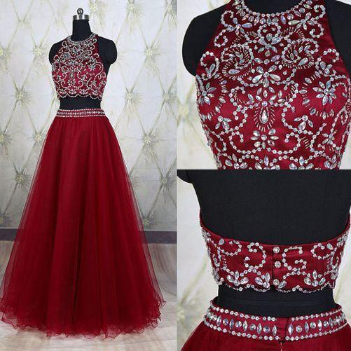 Brilliant Floor Length Burgundy Tulle Formal Dresses Showcases Rhinestone Beaded Bodice - Long Elegant Prom Dresses, Sexy Beaded Evening Gown,Burgundy Prom Gown