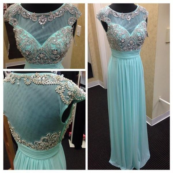 Sexy Floor Length Light Blue A Line Chiffon Formal Dresses Showcases Beaded Bodice With Illusion Neck And Beaded Scoop Neckline - Long Elegant Prom Dresses, Sexy Beaded Evening Dress