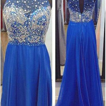 Blue A Line Chiffon Halter Prom Dresses,Sexy Floor Length Beaded Evening Gowns
