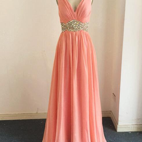 Sexy Coral Bridesmaid Dress,Floor Length A Line Coral Bridesmaid Dresses,Elegant Long Cheap Prom Dresses Party Evening Gown