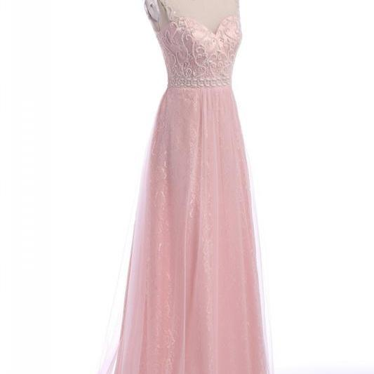 Amazing Pink Long Chiffon Prom Dresses Showcases Beaded Sheer Bateau Neckline And Lace Skirt ,Sexy Evening Gowns, Formal Dresses