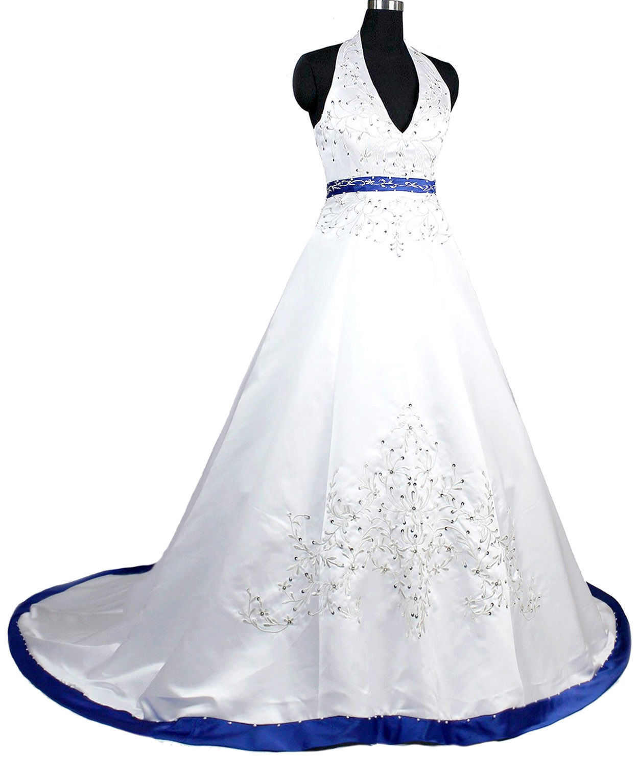 Royal Blue Wedding Dresses Long New Satin Halter Beaded Sequined