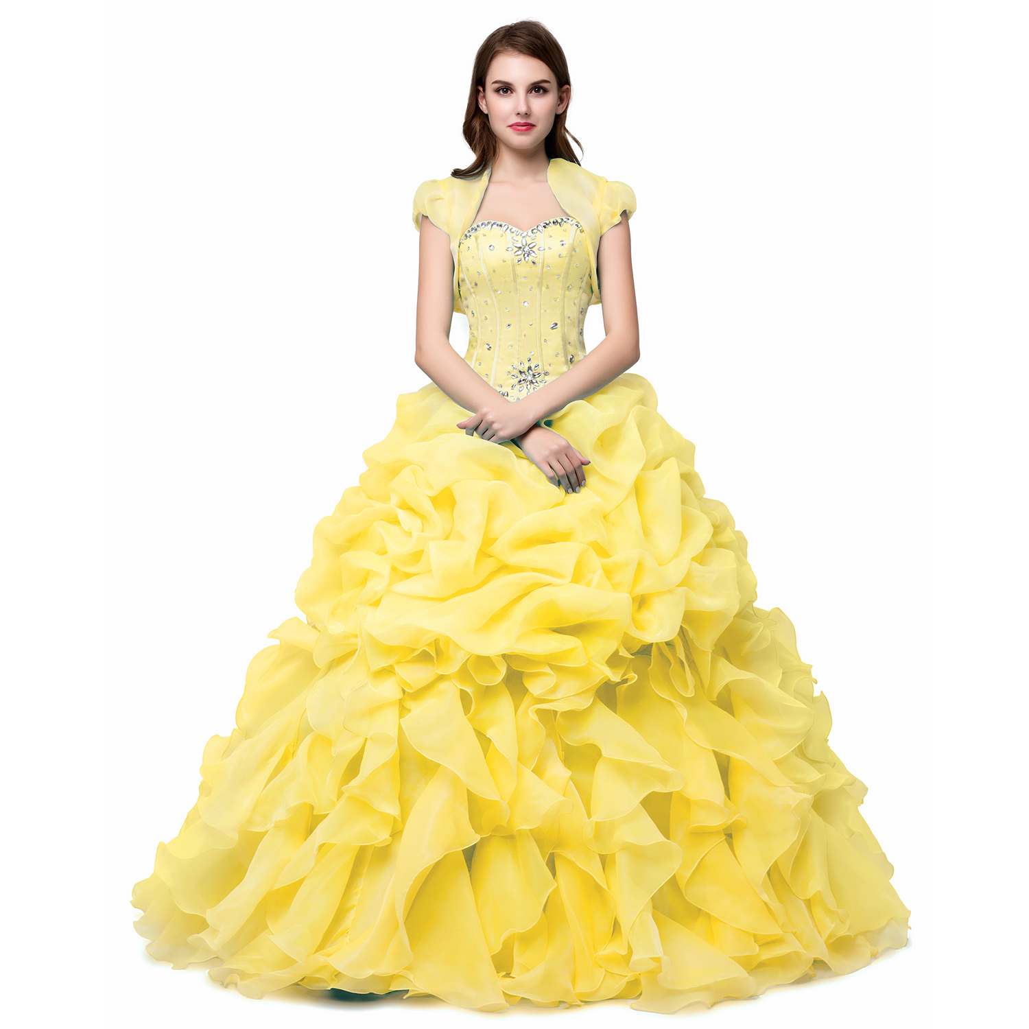 ab2af75e1ea Yellow Ball Gown Quinceanera Dresses With Jacket 2019 Sparkle Crystal  Organza Floor-length Sweet 16 on Luulla